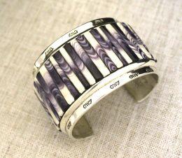 Wampum Inlayed Large Men's Cuff Bracelet