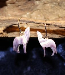 Wampum Wolf Earrings