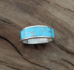 Men's Inlay Turquoise Sterling Silver Ring