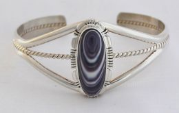Large Long-Oval Wampum Silver Design Bracelet