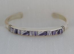 Narrow Wampum Bracelet with Handcut Cornrow Inlay