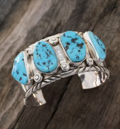 Large Heavy Sterling Silver Genuine Turquoise Bracelet