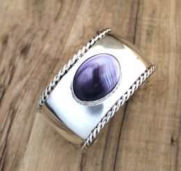 Sterling Silver Twisted Wire Edge Cuff with Oval Wampum Cabochon