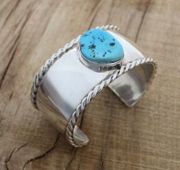 Sterling Silver Cuff with Kingman Turquoise