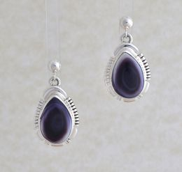 Small Teardrop Shaped Wampum Earrings w/ Sterling Silver Design