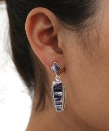 Inlaid Wampum Sterling Silver Earrings on Diamond-Shaped Wampum Post