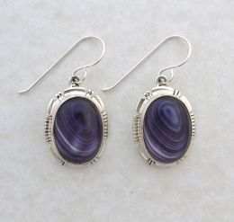 Large Round Oval Cabochon Wampum Earrings