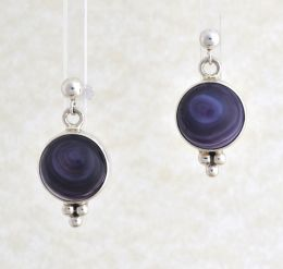 Round Wampum Earrings with Sterling Silver Pearls Design