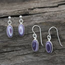 Extra Small Long-Oval Wampum Earrings