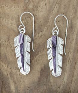 Sterling Silver Feather Earrings with Wampum Inlay