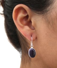 Round Oval Wampum Earrings set in Sterling Silver