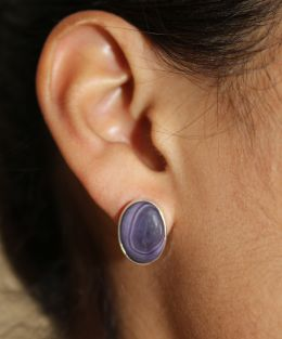 Oval Wampum Stud Earrings