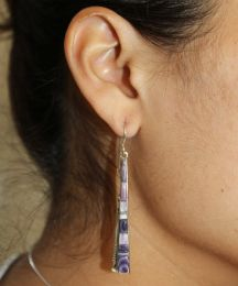 Long Triangle-Shaped Inlay Wampum Earrings