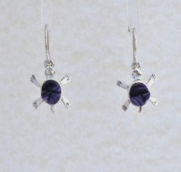 Turtle Cornrow Inlay Wampum Earrings