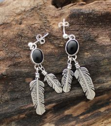 Black Onyx Earrings w/ Silver Feathers