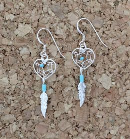 Small Sterling Silver Dreamcatcher Heart Earrings