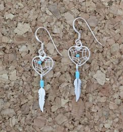 Small Heart Dreamcatcher Turquoise Earrings