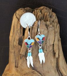 Multicolored Heart Earrings With Silver Feathers