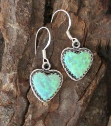 Green Opal Heart Earrings