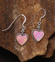 Pink Opal Heart Earrings