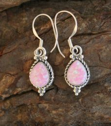 Pink Opal Teardrop Earrings