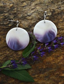 Round Wampum Shell Earrings
