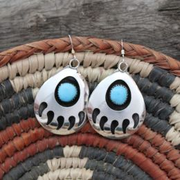 Large Dangling Bear Paw Turquoise Earrings