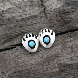 Bear Paw Post Turquoise Earrings