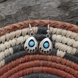 Small Dangling Bear Paw Turquoise Earrings