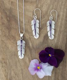 Sterling Silver Feather with Wampum Inlay Set