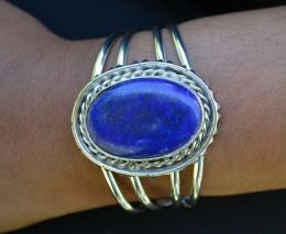 Large Oval Genuine Lapis Bracelet