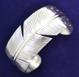Handcrafted Sterling Silver Feather Bracelet
