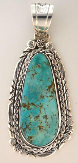 """Sister"" Large Turquoise Silver Pendant"