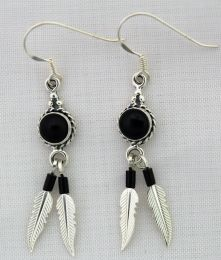 Onyx Sterling Silver Earrings With Feathers