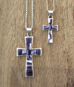 Cross with Inlay Wampum necklace