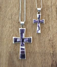 Cross with Wampum Inlay necklace