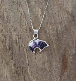 Small Bear with Inlay Wampum Necklace