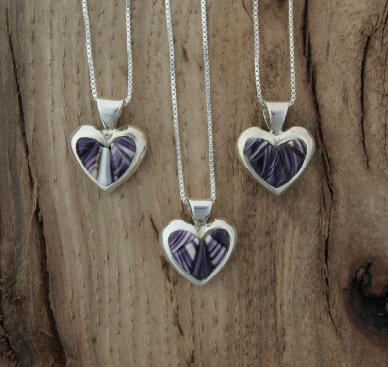 Small Sterling Silver Heart Necklace With Wampum Inlay