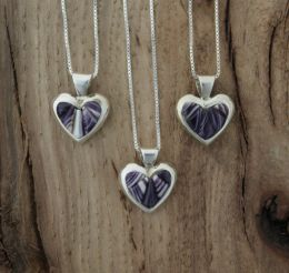 Small Heart Wampum Inlay Sterling Silver Necklace