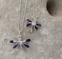 Small Dragonfly with Hand-cut Inlay Wampum Necklace