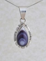 Teardrop Shaped Wampum Silver Necklace