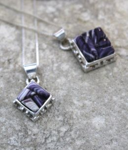 Square Wampum Inlay Silver Necklace