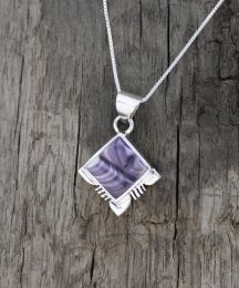 Square Wampum Necklace with Sterling Silver Design