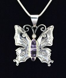 Large Sterling Silver Butterfly Pendant with Hand cut Wampum Inlay