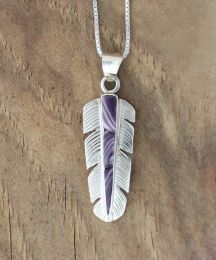 Feather with Hand-cut Inlay Wampum Necklace