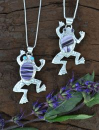 Frog Pendant with Hand-Cut Wampum Inlay