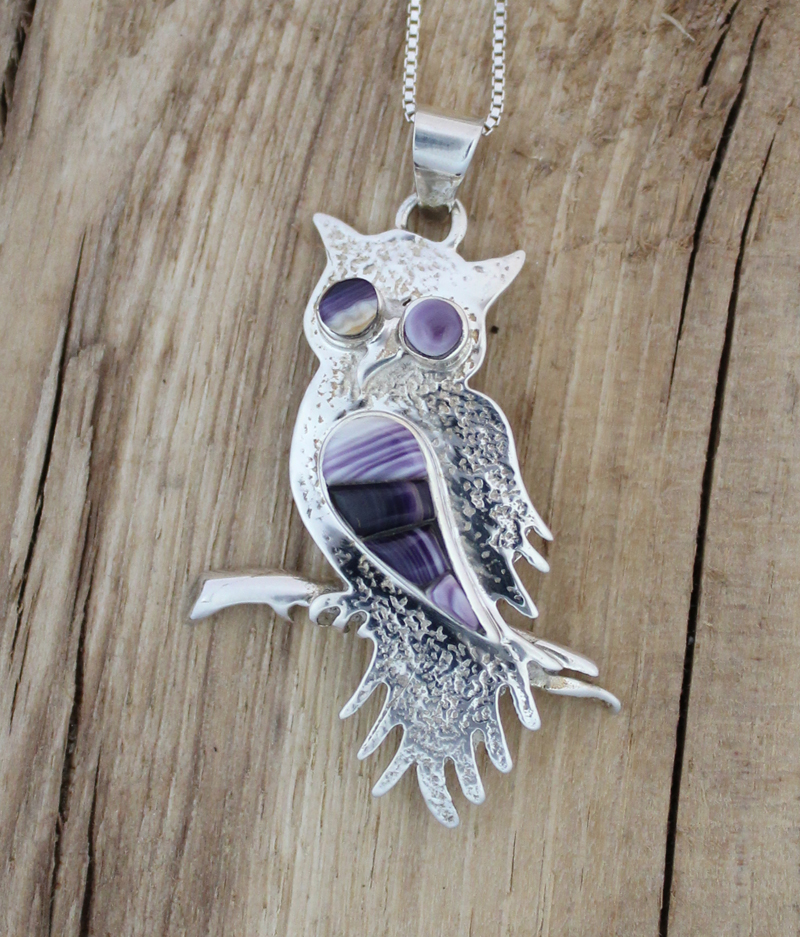 Sterling silver owl necklace with wampum inlay owl with inlay wampum necklace mozeypictures Image collections