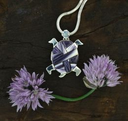 """Moving"" Reversible Wampum Inlay Turtle Necklace"