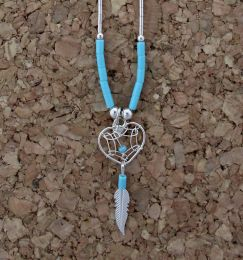 Small Dreamcatcher Heart Necklace On 'Liquid Silver' Chain
