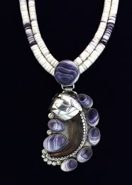 Wampum Necklace with Grizzly Claw Pendant